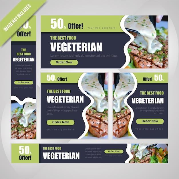 Vegeterian web banner set pour restaurant avec remise. Vecteur Premium