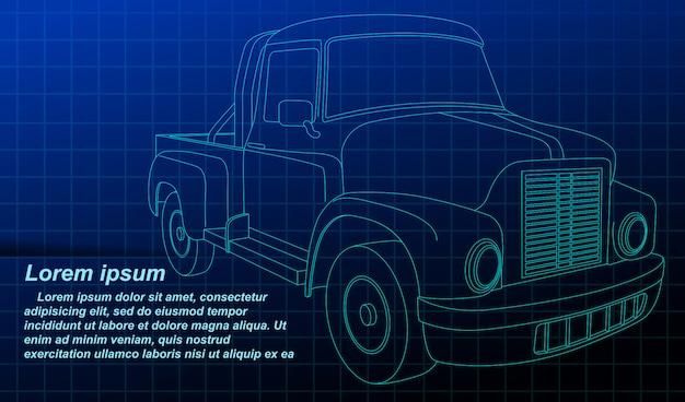 Véhicule de croquis de contour de vecteur sur blueprint. Vecteur Premium