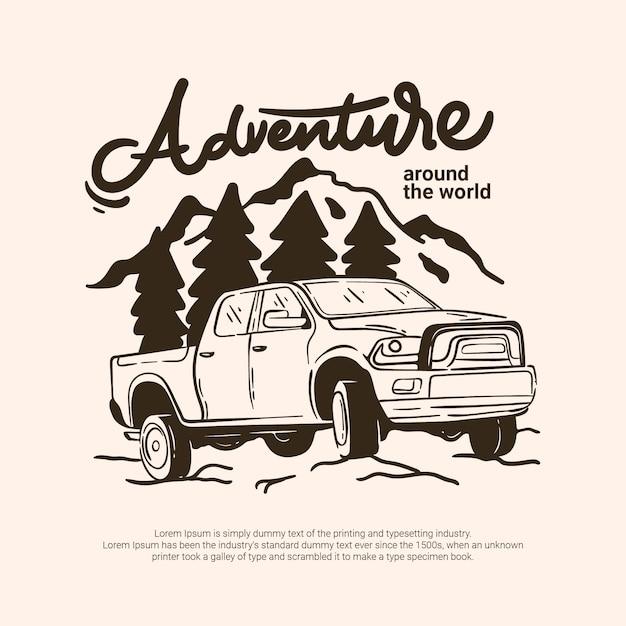 Véhicule Tout-terrain D'aventure En Plein Air Se Rendant à Forest Mountain River Vecteur Premium