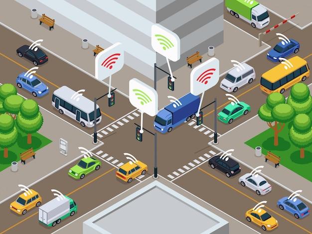 Véhicules avec capteur infrarouge. voitures intelligentes sans pilote en illustration vectorielle de ville trafic Vecteur Premium