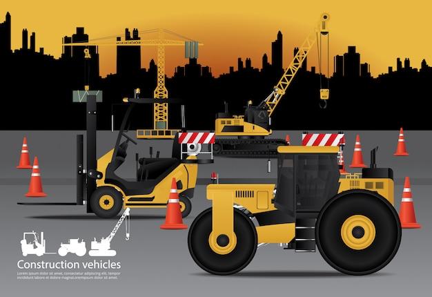 Véhicules de construction sertie de fond de construction Vecteur Premium
