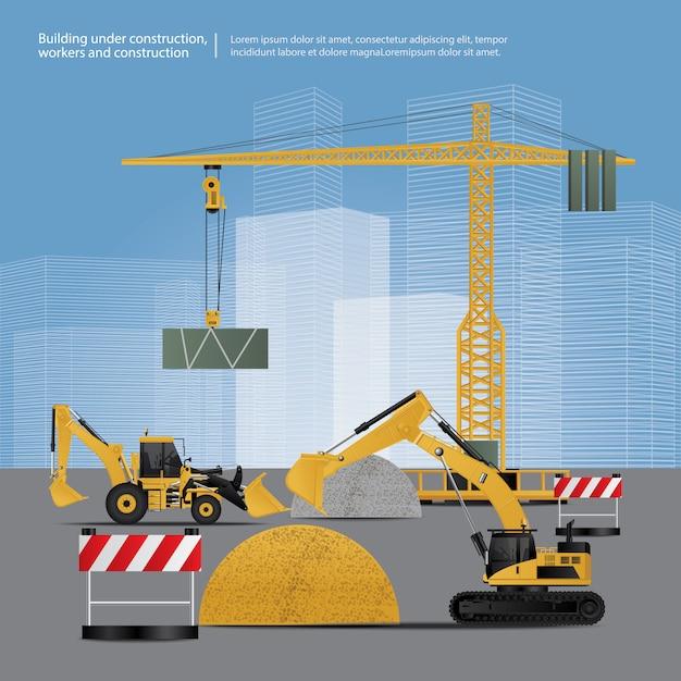 Véhicules de construction sur le site vector illustration Vecteur Premium