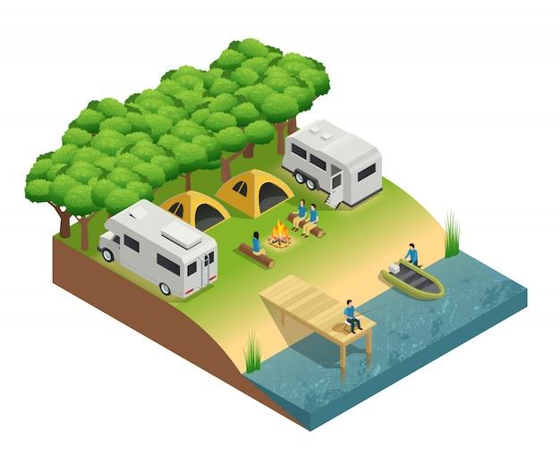 Véhicules de loisir au lac composition isométrique avec des gens de tente et de la forêt Vecteur gratuit