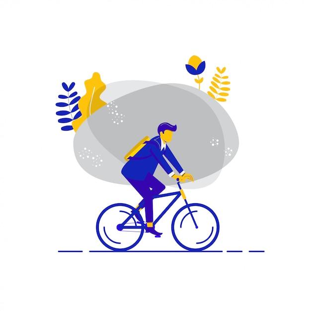 Vélo au travail Vecteur Premium
