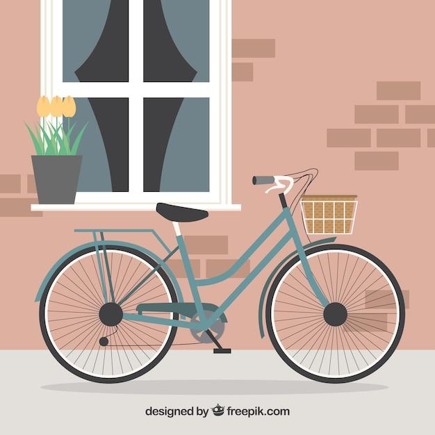 v lo avec panier devant mignon maison de fond t l charger des vecteurs gratuitement. Black Bedroom Furniture Sets. Home Design Ideas