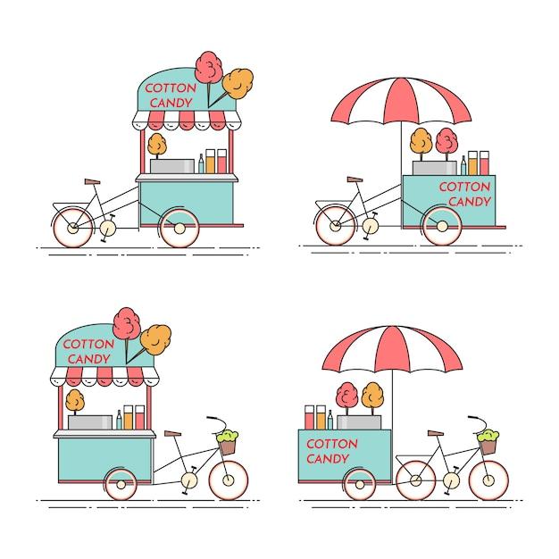 Vélo en coton bonbon. chariot sur roues. kiosque de nourriture et de boisson. illustration vectorielle dessin au trait plat. éléments pour la construction, le logement, le marché immobilier, la conception d'architecture, la bannière d'investissement immobilier Vecteur Premium