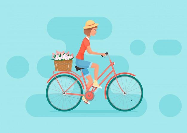 Vélo femme Vecteur Premium