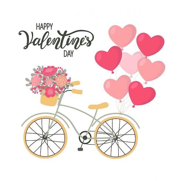 Vélo de fond de la saint-valentin avec des fleurs et des ballons en forme de coeur Vecteur Premium