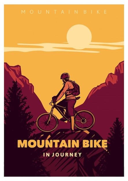 Vélo De Montagne En Voyage, Style Vintage Affiche Vecteur Premium