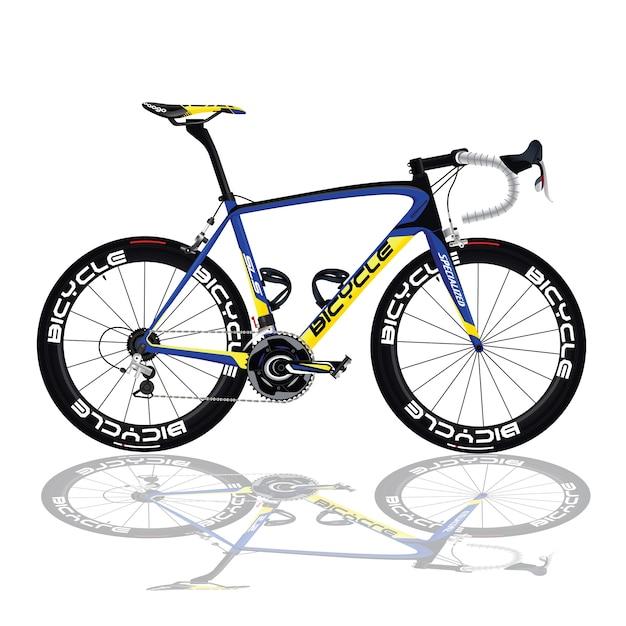 Vélo noir et bleu Vecteur Premium