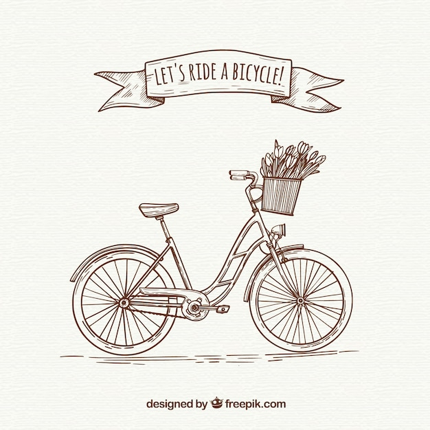 Vélo Rétro Avec Style Dessiné à La Main Vecteur gratuit