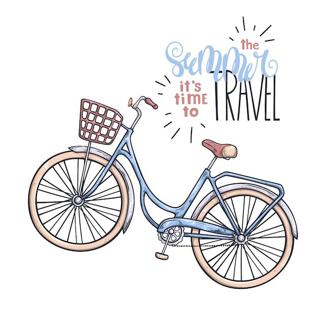 Vélo de vecteur dans le style vintage. lettrage: l'été il est temps de voyager. Vecteur Premium