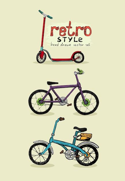 Vélos Hipster Et Scooter Dessinés à La Main Vecteur gratuit