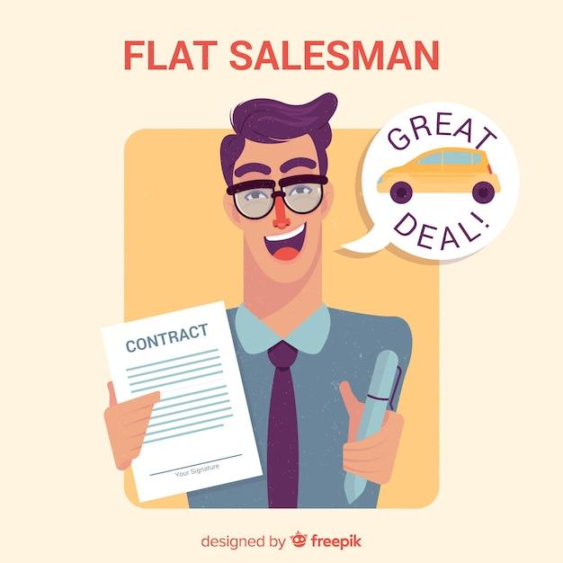 Vendeur avec contrat en design plat Vecteur gratuit