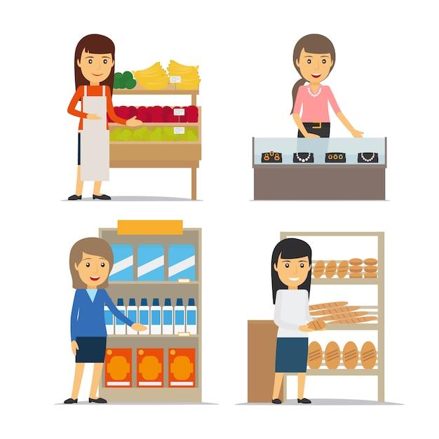 Vendeuse avec fruits et pain Vecteur Premium