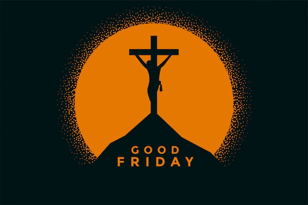 Vendredi Bon Fond Avec Jésus Christ Crucifixion Vecteur gratuit