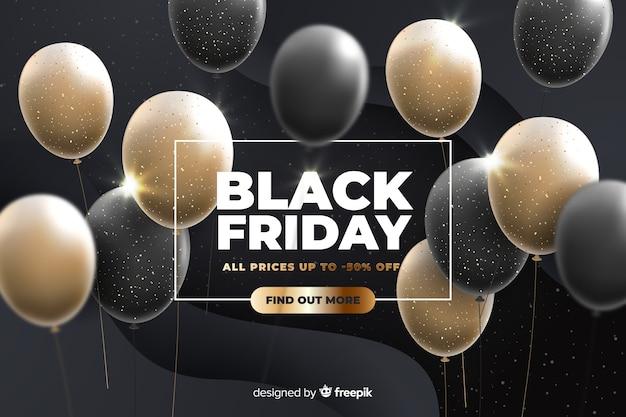 Vendredi noir avec ballons réalistes Vecteur gratuit