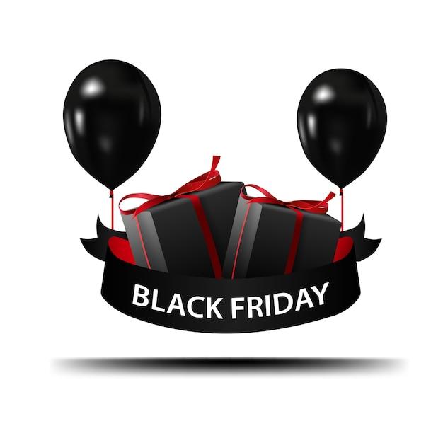 Vendredi Noir. Bannière Avec Des Ballons Noirs Et Des Cadeaux Vecteur Premium