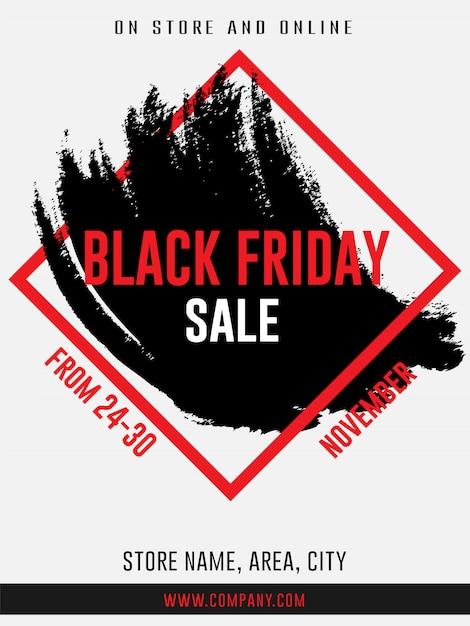 Vendredi noir bannières d'annonce web de vente flyer modèle de trait de pinceau Vecteur Premium