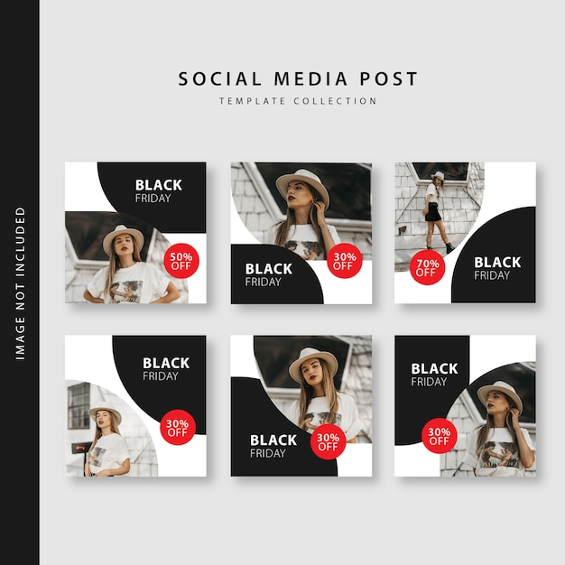 Vendredi noir collection de modèles de post instagram Vecteur Premium