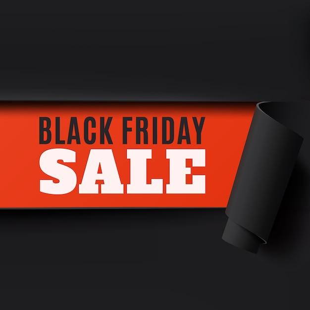 Vendredi Noir Déchiré Fond De Papier Abstrait. Parfait Pour Une Brochure, Une Affiche Ou Un Dépliant. Illustration. Vecteur Premium