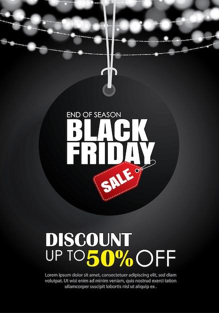 Vendredi noir avec étiquette suspendue modèle de flyer de vente Vecteur Premium