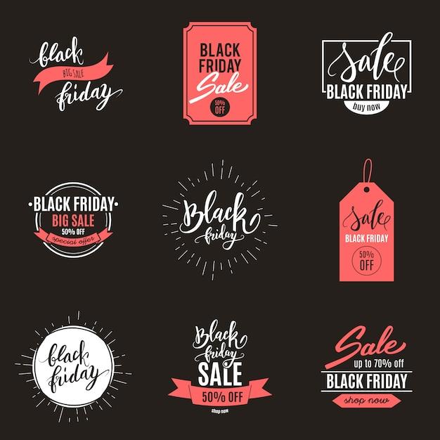 Vendredi noir grande annonce de vente ensemble de bannières Vecteur Premium