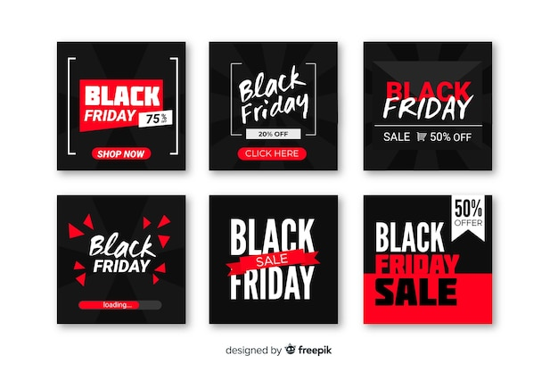 Vendredi noir instagram post collection Vecteur gratuit