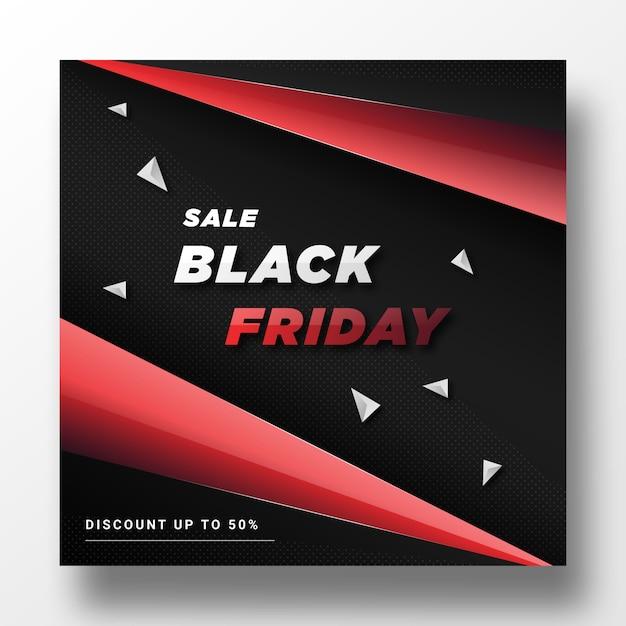 Vendredi noir. modèle de bannière de publication de médias sociaux Vecteur Premium