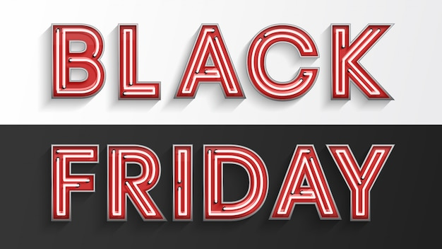 Vendredi noir néon rouge Vecteur Premium