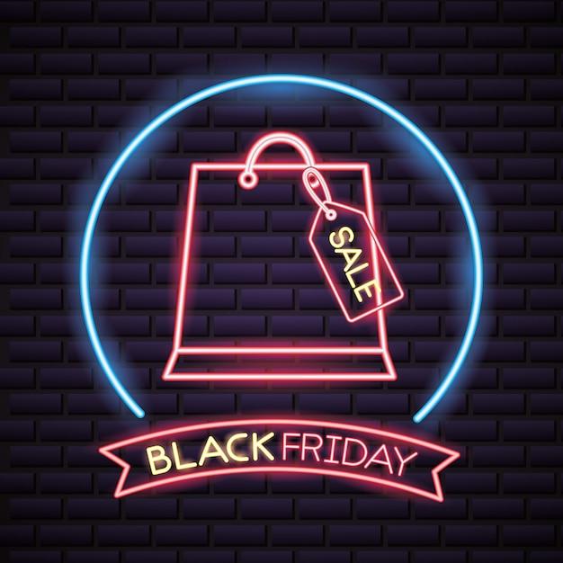 Vendredi Noir Shopping Vente De Néons Vecteur gratuit