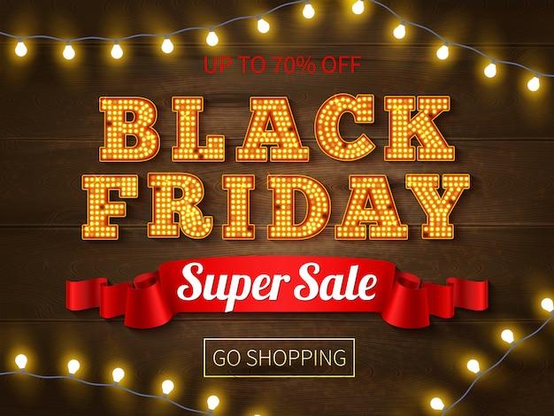 Vendredi Noir Super Vente Bannière Publicité Texte Lumineux Et Chaîne De Lumières Vecteur gratuit