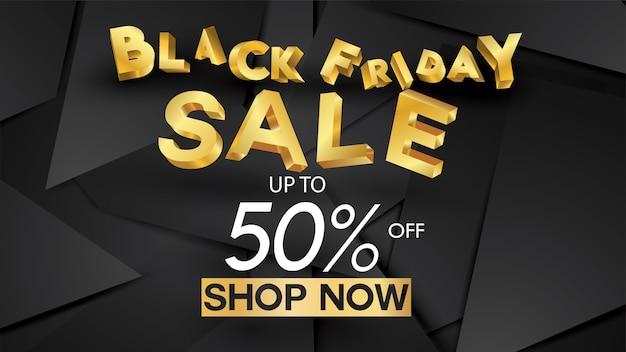 Vendredi noir vente bannière mise en page conception fond noir et or offre de réduction de 50%. pour p Vecteur Premium
