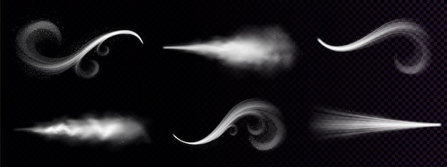 Le Vent Souffle Ou La Poussière, La Fumée Blanche Ornée, La Poudre Ou Les Gouttes D'eau Traînent. Brouillard D'écoulement, Jet De Fumée, Vapeur De Produit Chimique Ou Cosmétique, Brume. Ensemble De Clipart Isolé 3d Réaliste Vecteur gratuit