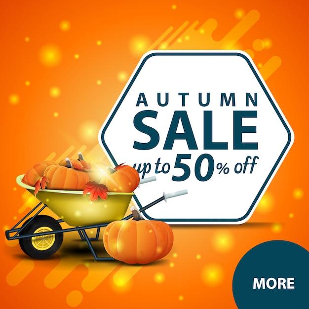 Vente d'automne, bannière web discount carré avec brouette de jardin Vecteur Premium