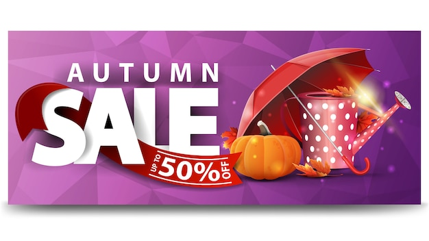 Vente d'automne, bannière web à remise horizontale pour votre site web Vecteur Premium