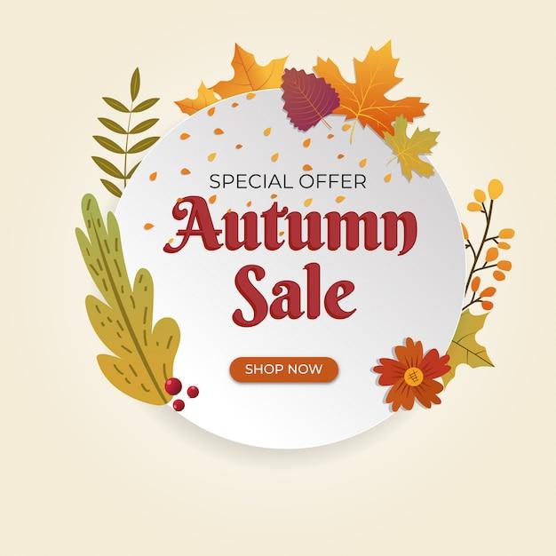 Vente d'automne grande vente discount affiche de vente spéciale Vecteur Premium