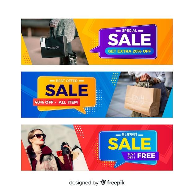 Vente de bannière abstraite avec collection de photos Vecteur gratuit