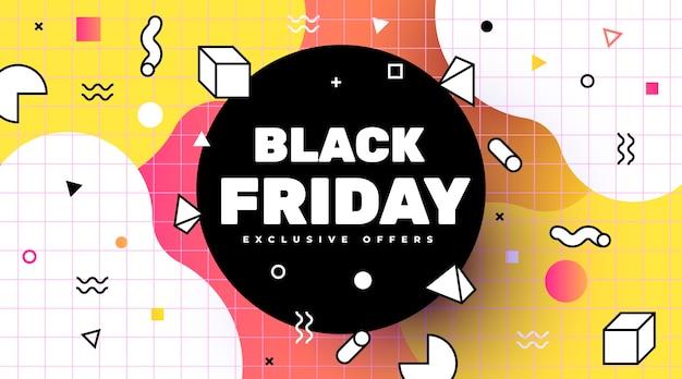 Vente De Bannière Black Friday Dans Le Style De Memphis Vecteur gratuit