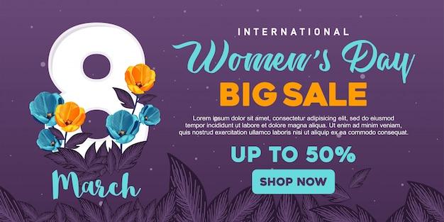 Vente de bannière happy womens day Vecteur Premium