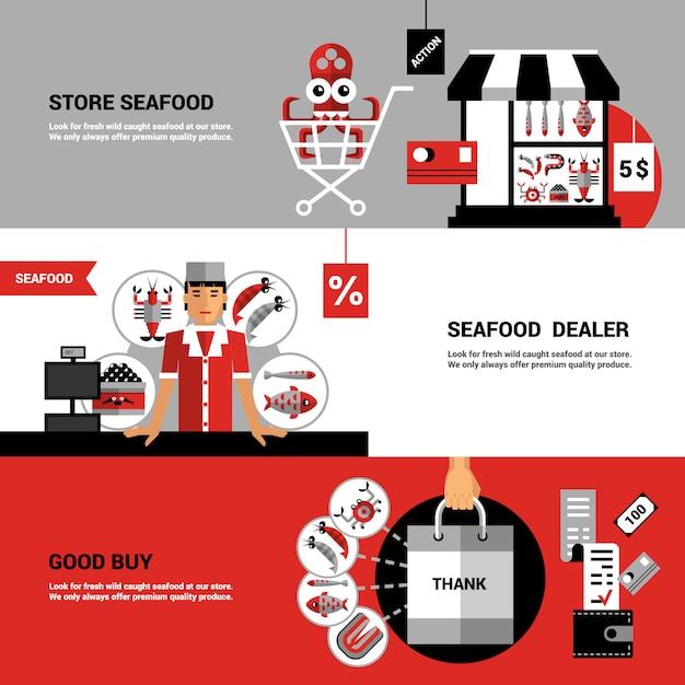 Vente de bannières horizontales de fruits de mer Vecteur gratuit