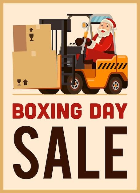 Vente de boxing day santa claus drive chariot élévateur Vecteur Premium