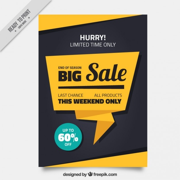Vente brochure avec une bulle de l'origami Vecteur gratuit
