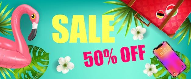 Vente, cinquante pour cent de réduction conception de bannière avec des feuilles de palmier, smartphone Vecteur gratuit