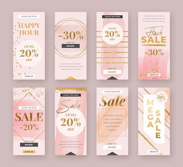 Vente Collection D'histoires Instagram Vecteur Premium