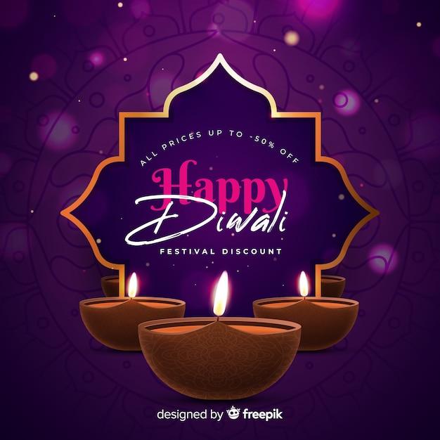 Vente Colorée De Diwali Réaliste Vecteur gratuit