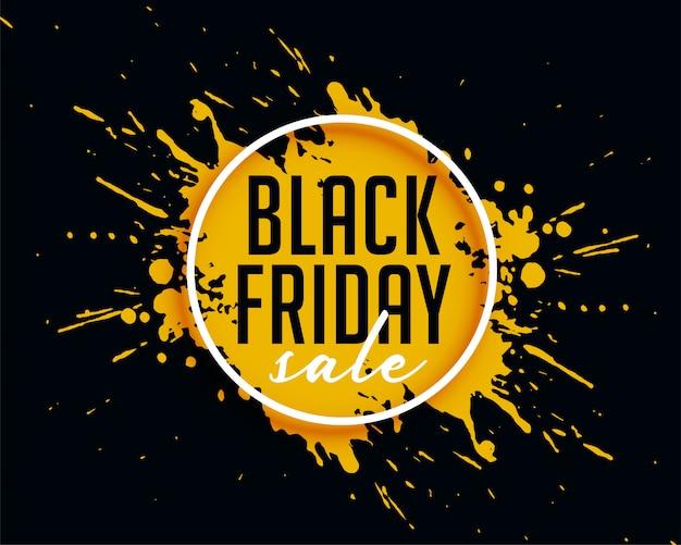 Vente de vendredi noir abstraite avec fond splash d'encre Vecteur gratuit