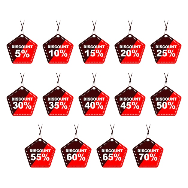 Vente discount pentagon prix tags icon set 5 à 70 off Vecteur Premium