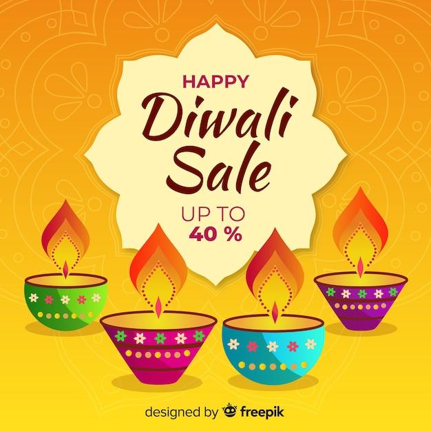 Vente De Diwali Dessiné à La Main Avec Des Bougies Et 40% De Réduction Vecteur gratuit
