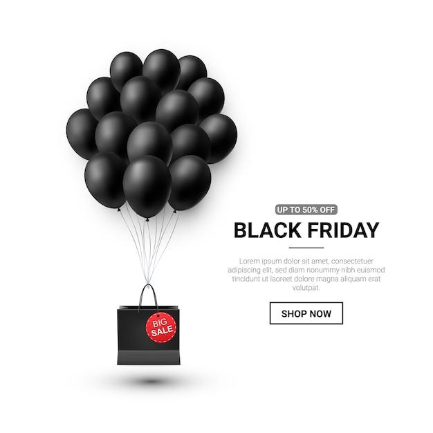 Vente Du Vendredi Noir Avec Des Ballons Brillants Vecteur Premium
